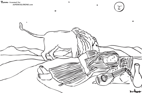 The Sleeping Gypsy By Henri Rousseau  coloring page