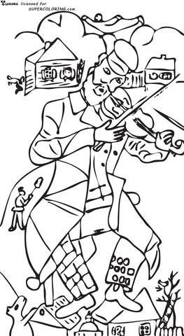 The Green Violinist By Marc Chagall  coloring page