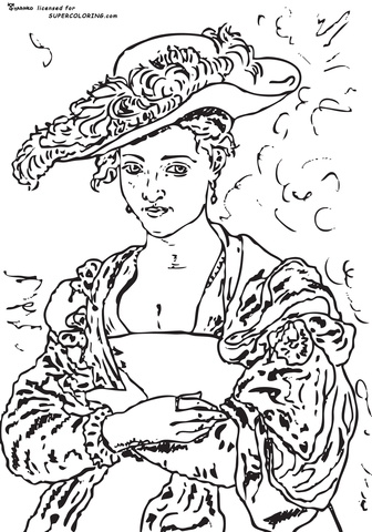 The Straw Hat By Peter Paul Rubens coloring page