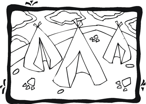 Three Wigwams Coloring Page