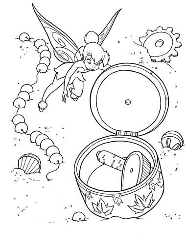 Tinkerbell opened Musical Box coloring page