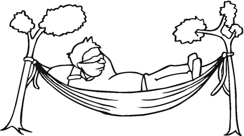 A man is resting in a hammock coloring page