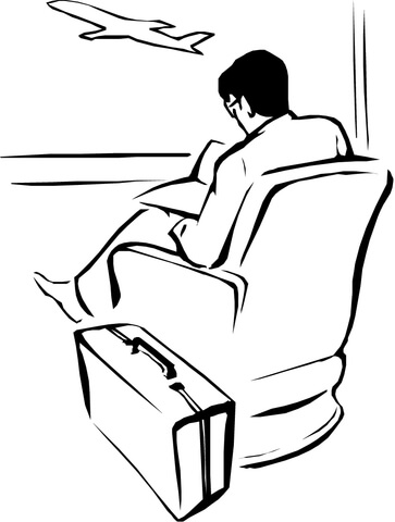 Man is waiting for the flight coloring page