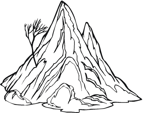 The mountain and a lonely, naked tree coloring page
