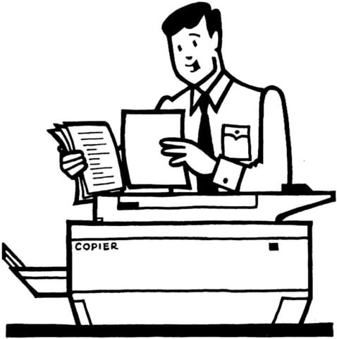 Office worker makes the copies using a photocopier coloring page