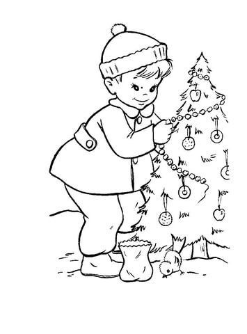 A Christmas Tree For The Birds And Squirrels  coloring page