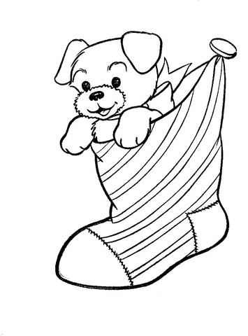 A Puppy Dog In A Christmas Stocking  coloring page