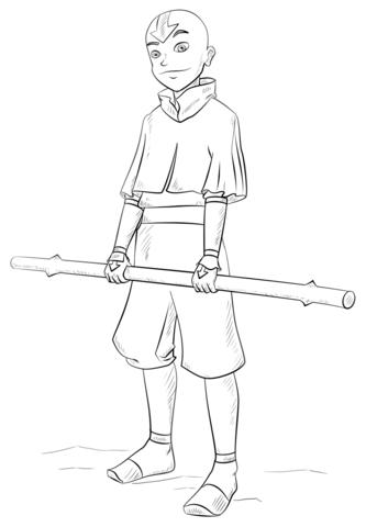 Aang from Avatar the Last Airbender coloring page