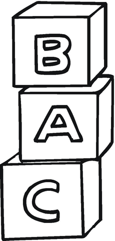 A,B,C Cubes coloring page