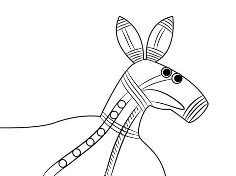 Aboriginal Painting Of Kangaroo Head Coloring Page Free Printable