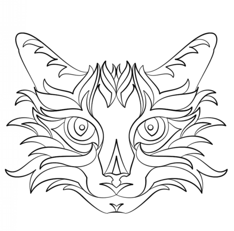 Abstract Cat coloring page