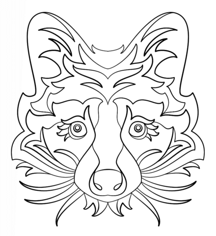 Abstract Raccoon Coloring Page