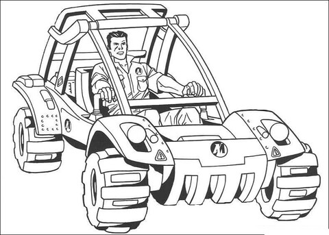 Action Man Is riding Light Strike Vehicle  coloring page
