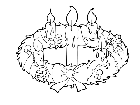 Advent Wreath and Candles coloring page
