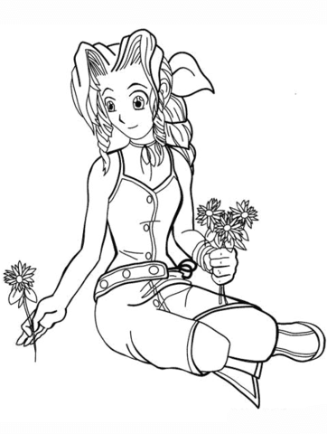Aeris from Final Fantasy Vii coloring page