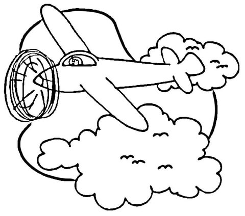 Airplane in Sky  coloring page
