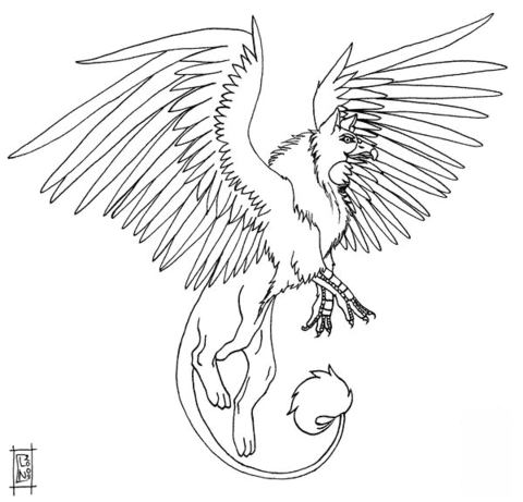 Akhor the Griffin coloring page