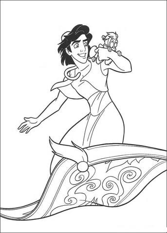 Aladdin And Monkey Abu coloring page - Free Printable Coloring Pages