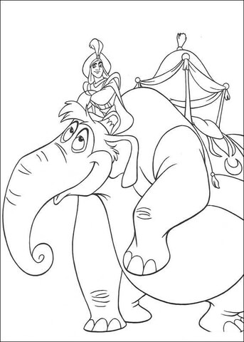 Aladdin Is Riding An Elephant coloring page - Free Printable ...