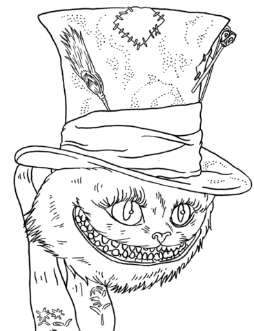Tim Burton's Cheshire Cat coloring page