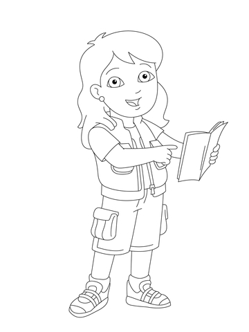 Alicia is Showing You Something in Her Book coloring page