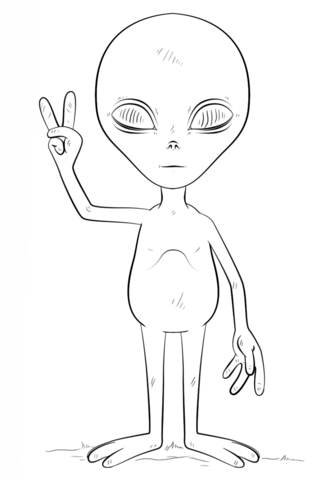 Alien with Peace Sign coloring page