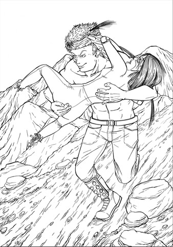 Alita Gally and Figure Four from Series Battle Angel Alita (Gunnm) coloring page