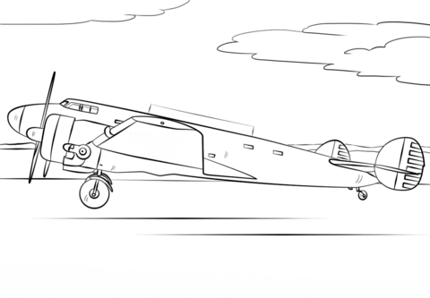 Amelia Earhart Airplane coloring page - Free Printable Coloring Pages