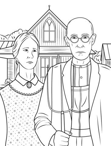 American Gothic by Grant Wood Coloring page