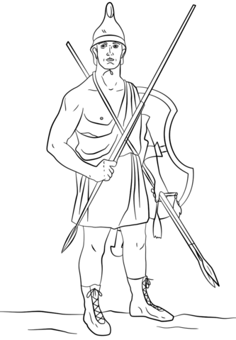 Ancient Greek Soldier – Agrianian peltast coloring page