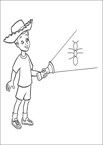 Andy Is Holding A Lamp  coloring page