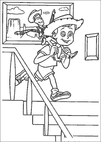 Andy With Woody Sheriff  coloring page