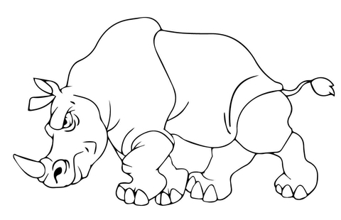 Angry Rhino coloring page