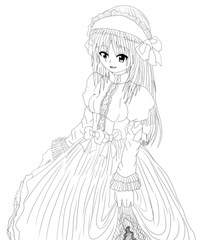 Anime Maid Character by Gabriela Gogonea coloring page