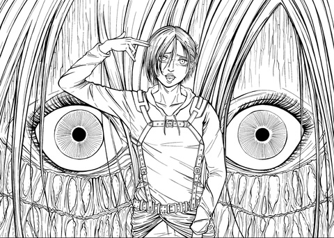Annie Leonhardt Female Titan from Manga Series Shingeki No Kyojin (Attack on Titan, Advancing Giants) coloring page
