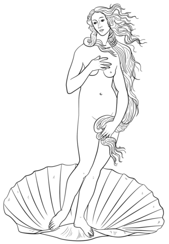 Aphrodite from the Birth of Venus by Sandro Botticelli coloring page