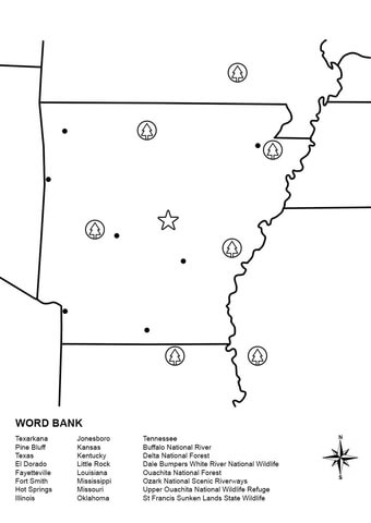 Arkansas Map Worksheet coloring page