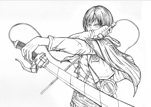 Armin Arlert from Manga Series Shingeeki No Kyojin Attack on Titan Advancing Giants coloring page