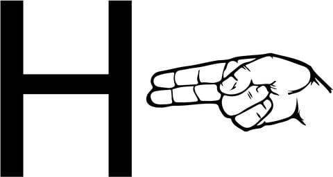 ASL Sign Language Letter F Coloring Page H