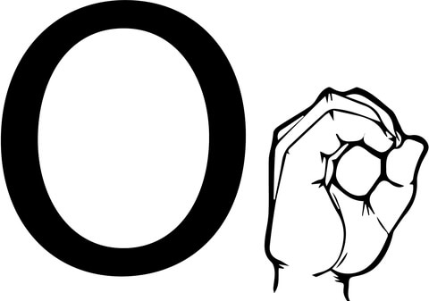 ASL Sign Language Letter O coloring page