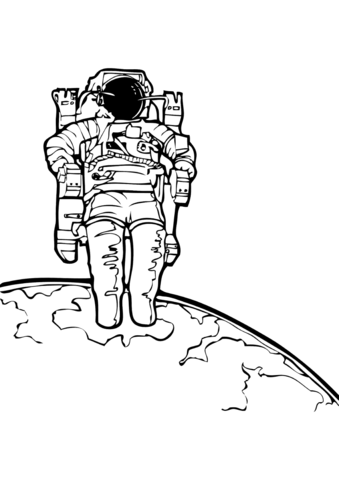 Astronaut In The Outer Space Coloring Page Free Printable Coloring