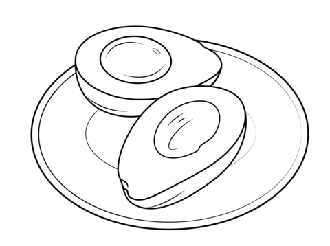 Avocado on a plate coloring page