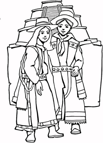 Aztec girl and boy  coloring page