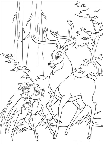 Bambi, Thumper And Roe coloring page - Free Printable Coloring Pages
