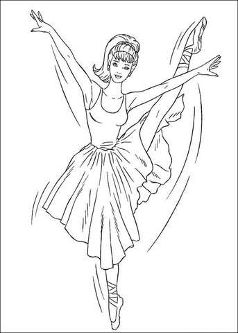 Barbie ballerina coloring page