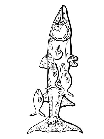 Barracuda and Remora Fishes coloring page