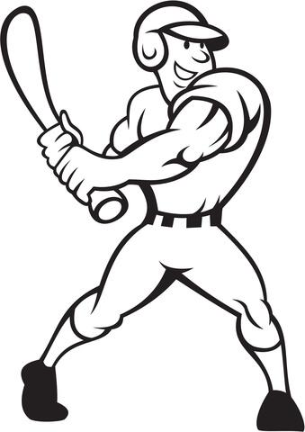 Baseball Player Batting Side coloring page - Free Printable Coloring ...
