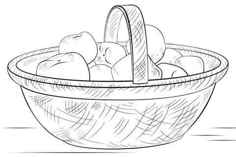 Basket with Apples coloring page
