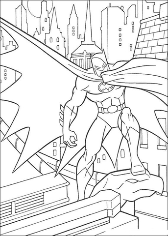 Batman Is Looking For His Enemy  coloring page