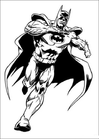 Batman Is Running  Coloring page